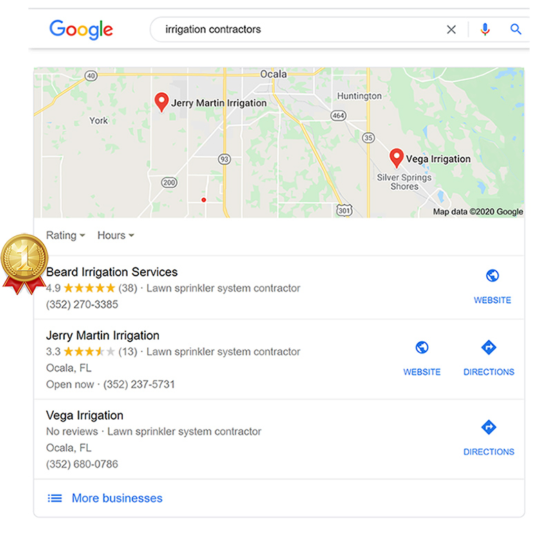 Local SEO Results - Beard Irrigation Services