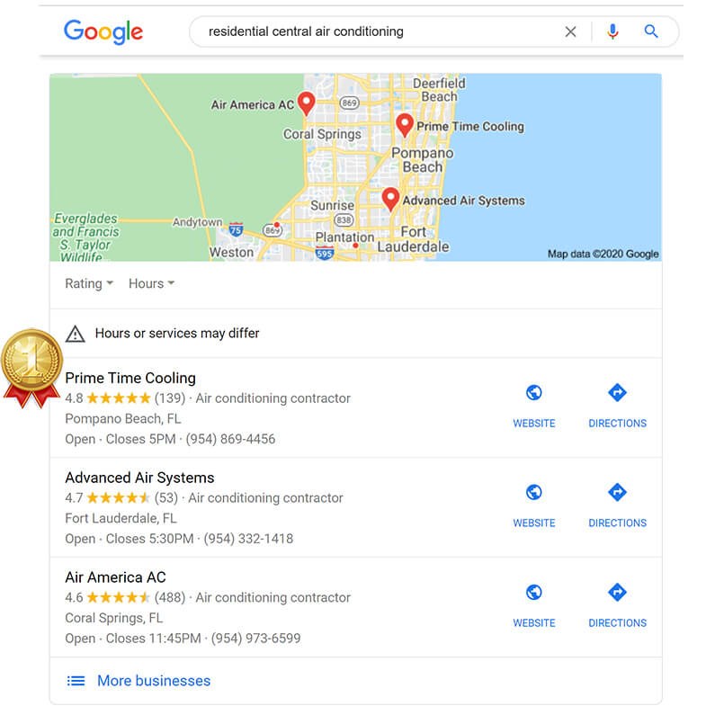 Local SEO Results - Prime Time Cooling